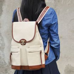 SUPER LOVER - Contrast-Trim Flap Canvas Backpack