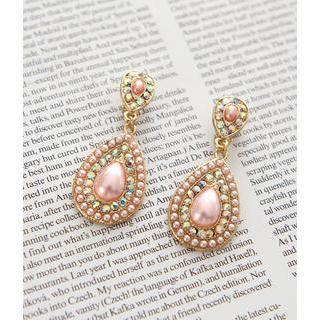 Petit et Belle - Jeweled Oval Drop Earrings