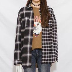 Heynew - Contrast Plaid Long-Sleeve Shirt