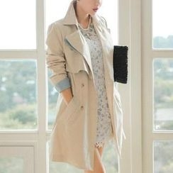 vivaruby - Contrast-Trim Trench Coat