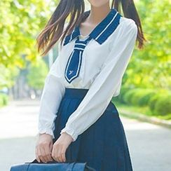 GOGO Girl - Contrast Collar Shirt with Tie