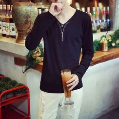 JVR - V-neck Long-Sleeve T-shirt