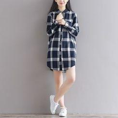 Emeline - 长袖格子衬衫裙