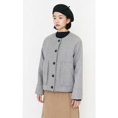 Someday, if - Collarless Dual-Pocket Wool Blend Jacket