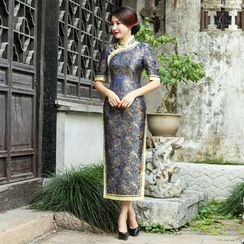 Miss Four Qipao - Elbow-Sleeve Patterned Cheongsam