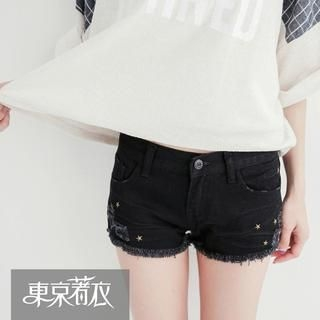 Tokyo Fashion - Star-Studded Fray-Hem Denim Shorts
