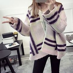 FR - Stripe Chunky Knit Cardigan
