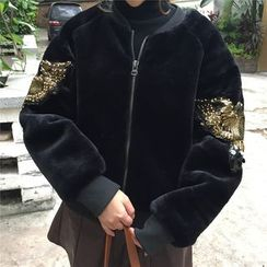 HAZEL - Sequined Fleece Zip Jacket