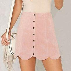 Obel - Scallop Hem Buttoned A-Line Skirt