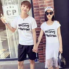 Azure - Couple Matching Lettering Short Sleeve T-Shirt / Cut Out Shoulder Dress