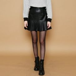 Envy Look - Faux-Leather Pleated A-Line Mini Skirt