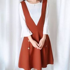 November Rain - 套装: 七分袖T恤 + 背带裙