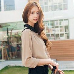Tokyo Fashion - 3/4-Sleeve Studded Chiffon Blouse