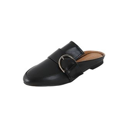 DABAGIRL - Buckled Open-Back Loafers