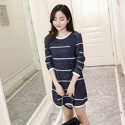 Aigan - Long-Sleeve Striped Long Knit Top