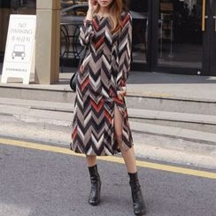 DABAGIRL - Cutout-Back Chevron Long Dress