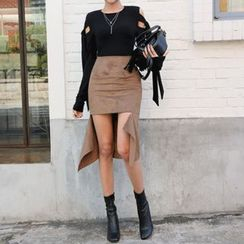 DABAGIRL - Cutout-Front Faux-Suede Skirt