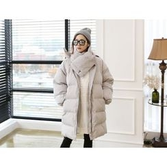 DANI LOVE - Hooded Lettering Long Puffer Coat with Scarf