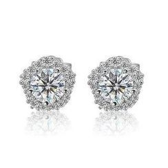 BELEC - 925 Sterling Silver with Silver Cubic Zircon Stud Earrings