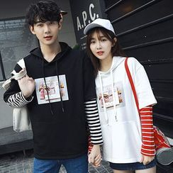 Azure - Couple Matching Print Stripe Mock Two-piece Hoodie