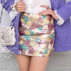 粉红大布娃娃 -  彩色亮片低腰包臀毛呢半裙