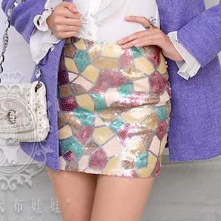 Dabuwawa - Multicolor Sequined Pencil Miniskirt