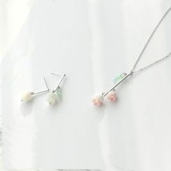 Gemma - Flower Earring / Pendant Necklace / Set: Flower Earring + Necklace