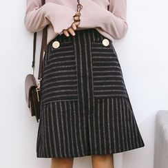 SUYISODA - Striped A-Line Skirt