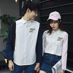 尚雅姿 - 情侶款拼接長袖襯衫