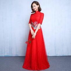 Luxury Style - Elbow-Sleeve Stand-collar Evening Dress