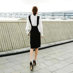 vivaruby - Detachable Suspender Midi Skirt