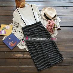 YOYO - Set: Letter T-Shirt + Striped Jumper Skirt