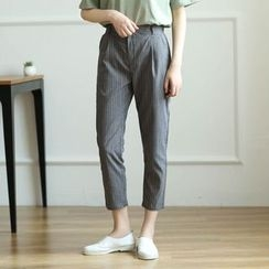 Mushi - Striped Cropped Pants