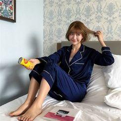 MISS YOYO - 睡衣套装: 配色边长袖上衣 + 长裤