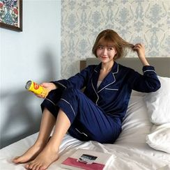 MISS YOYO - Pajama Set: Contrast Trim Long Sleeve Top + Pants