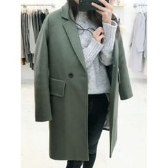 hellopeco - Notched-Lapel Double-Breasted Coat