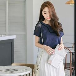 Tokyo Fashion - Perforated Shoulder Short-Sleeve Top