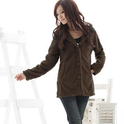 RingBear - Wool-Blend Hooded Furry Jacket