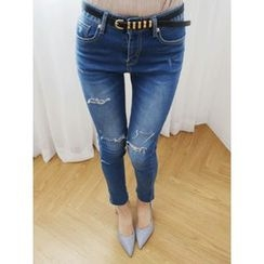 LOLOten - Distressed Washed Skinny Jeans