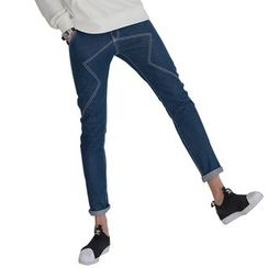 AMPO - Contrast Stitching Straight-Cut Jeans