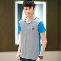 SOLER - V領條紋拼接短袖T恤