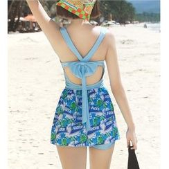 Jumei - Set: Floral Print Swimdress + Swim Shorts