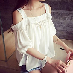 Fashion Street - Off Shoulder Elbow Sleeve Top