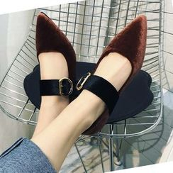 Shoeland - Pointed Buckled Velvet Flats