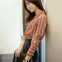 CHICLINE - Color-Block Stripe Blouse