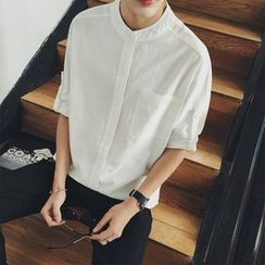 Mr. Wu - Plain 3/4 Sleeve Band Collar Shirt