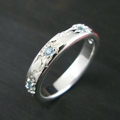 Sterlingworth - Blue Topaz Engraved Sterling Silver Ring