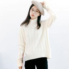 Forest Girl - High Neck Cable Knit Sweater