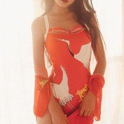 Jewegi - Set: Bird Print Swimsuit + Printed Cover-Up