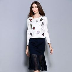 Cherry Dress - Set: Long-Sleeve Applique T-Shirt + Sheer Panel Midi Skirt